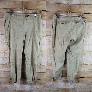 Theory Women's Khaki Linen Drawstring Linen Pants